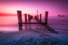 Seaview Landscape On Sunset - Blue Rose Mood
