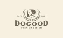 Dog  With Wreath Leaf  Logo Vector Symbol Icon Design Illustration