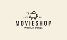 Video Record With Shopping Logo Vector Symbol Icon Design Illustration