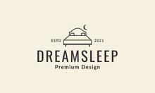 Moon Night With Bed Lines Furniture Interior Logo Vector Symbol Icon Design Illustration