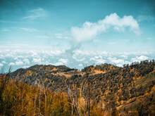 Panoramic View Of Landscape Against Sky At Peak Of Mountain