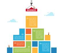 Infographic Building Business. Concept Of Building Success. Crane
