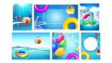 Water Park And Pool Party Promo Banners Set Vector