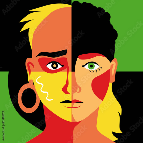 Obraz Modern colorful illustration of a human face divided into quarters representing different racial and gender group as a metaphor for diversity, EPS 8 vector illustration - fototapety do salonu