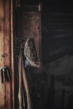 Close-up Of Old Hat Hanging In A Blacksmith Workshop