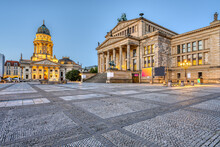 An Empty Gendarmenmarkt Square In Berlin Just Before Sunrise