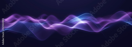 Abstract particle fractal background, hi-tech and big data background