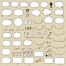 鉛筆で描いた手描き吹き出しセット 黒 白地あり / Speech Bubble, Speech Balloo