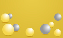 Abstract 3d Render Of Composition With Illuminating Yellow And Ultimate Gray Spheres. Modern Trendy Banner, Background Design With Place For Text