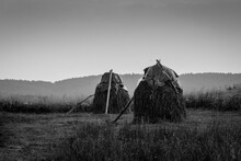 Hay Stacks On Field Against Clear Sky