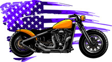 Chopper Motorcycle With American Flag Vector Illustration