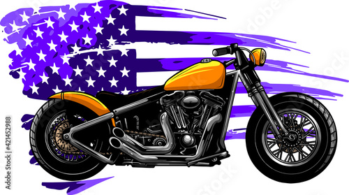 Canvas chopper motorcycle with american flag vector illustration