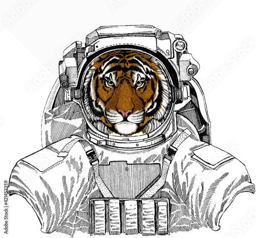 Obraz Vector tiger portrait. Animal head. Wild astronaut animal in spacesuit. Deep space. Galaxy. - fototapety do salonu