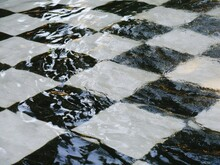 Checker Tile Under The Water