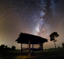 Built Structure On Field Against Sky At Night