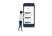 スマートフォンで検索する若い男性のイラスト素材