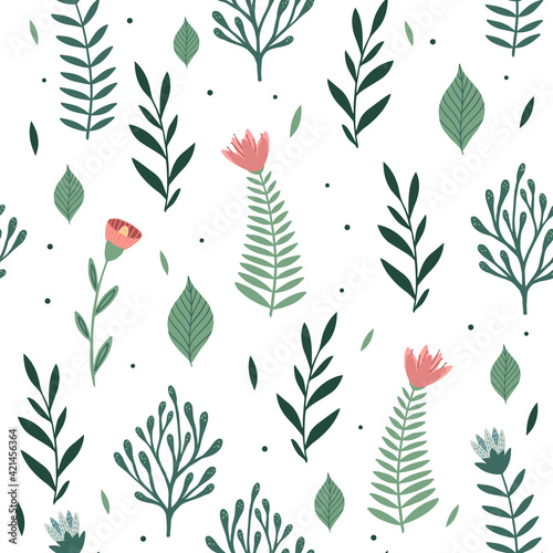 Seamless pattern with flowers and leaves. Creative floral texture. Great for fabric, textile Vector Illustration