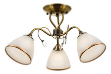 A Bronze Three-lamp Ceiling Lamp With Shades Of White Frosted Glass With A Golden Border. Isolated On White Background