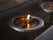 High Angle View Of Lit Tea Light Candles
