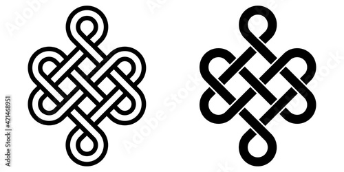 Fototapeta Mystical knot of longevity and health, Feng Shui luck sign, vector infinity knot, tattoo of the symbol health of occultism and witchcraft obraz
