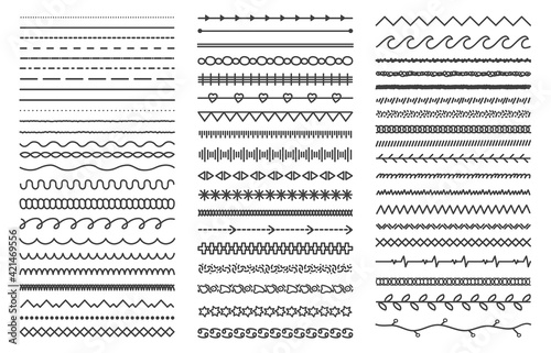 Hand drawn doodle dividers Fototapete