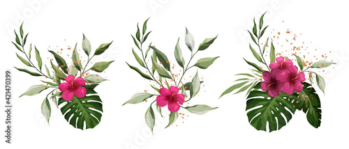 Fototapeta Hibiscus, tropical exotic leaves isolated on white background. Gold splashes of decoration. Realistic Plant Composition. Watercolor tropical floral bouquet set obraz