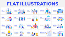 Set Of Flat Illustrations With Characters. Design, Planning, Shedule, Investment, Education, Partnership And Manu Other Themes
