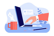 Office Worker Hand Working On Laptop Computer. Device And Coffee Cup On Workplace Desk Side View Flat Vector Illustration. Modern Technology, Office Work Concept For Website Design Or Landing Web Page