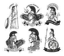Monochrome Emblems With Athena Vector Illustration Set. Vintage Logotypes With Goddess Of Wisdom In Armor. Mythology And Ancient Greece Concept Can Be Used For Stickers And Badges