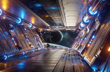 Orange And Blue Futuristic Spaceship Interior With Window View On Distant Planets System 3d Rendering