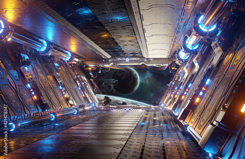 Obraz na plátně Orange and blue futuristic spaceship interior with window view on distant planet