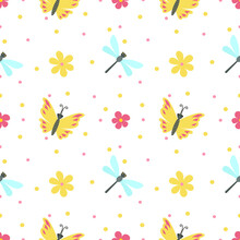 Cute Illustration With A Butterfly, Dragonfly, Flowers. Seamless Pattern For Printing Brochure, Poster, Party, Summer Printing, Textile Design, Postcard. Vector Illustration On A White Background.
