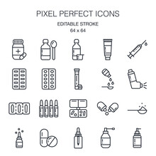 Pharmaceutical Dosage Forms Editable Stroke Outline Icon Pack Isolated On White Background Vector Illustration. Pixel Perfect. 64 X 64.