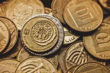 Israeli Coins. Macro Shot