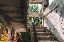 Low Angle View Of Old Building Staircase In Chernobyl