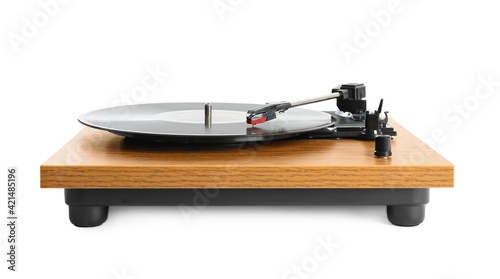 Fotografie, Tablou Modern vinyl record player with disc isolated on white