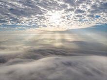 Drone Photo /sea Of Clouds Over Tai Mo Shan Mountain Top, Hong Kong