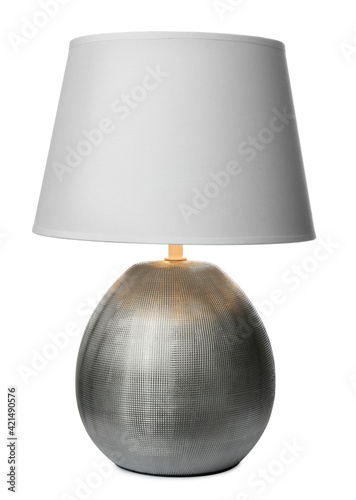 Stylish contemporary night lamp isolated on white