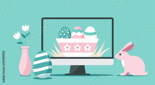 Fotografiet Happy Easter day via online on computer concept, vector flat illustration