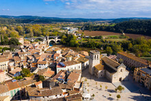 Aerial View Of Old Town Of Besalu With Old Bridge Over Fluvia River, Catalonia, Spain
