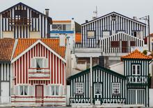 Typical Colourful Houses In Costa Nova - Aveiro Against Sky
