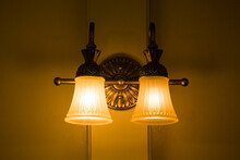 Low Angle View Of Illuminated Lamp At Home