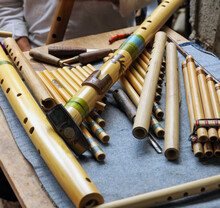Detailed View Of The Creation Of The Musical Instrument, The Quena