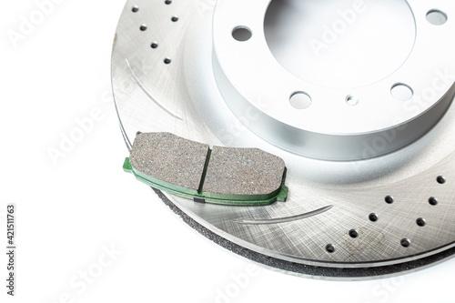 Fototapeta Perforated brake discs, ceramic pads - everything for better braking