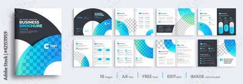 Brochure template layout design, Brochure design with blue gradient modern shapes, annual report minimal, multipage brochure template layout.