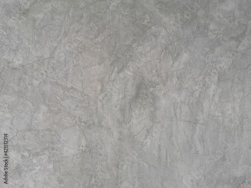 Fototapeta crack on cement wall bare polished grey color and smooth surface texture concrete material vintage background detail architect construction brick walls plastered and painted obraz