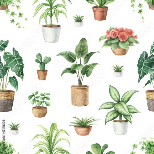 Fotografie, Obraz Watercolor vector seamless pattern of indoor green plants in pots
