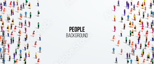 Large group of people on white background Fototapet