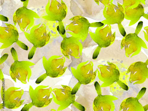 Fototapety, obrazy: Watercolor leaves Seamless Pattern.