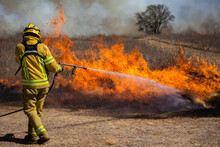 View Of Firefighter Working On Field